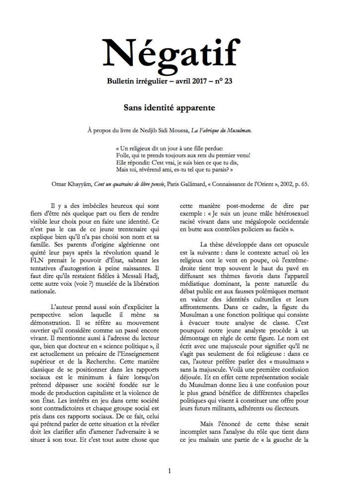 """""""NÉGATIF"""" n° 23 [recension de """"La Fabrique du Musulman""""] dans - LITTERATURE - POESIE - TEXTE"""