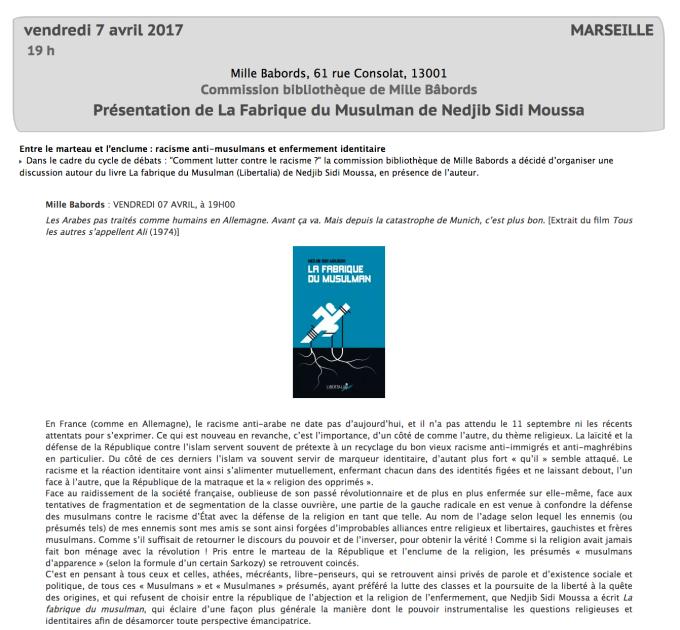"""""""La Fabrique du musulman"""" ~ Débat à Mille Babords (Marseille) le 7 avril dans - DATE A RETENIR"""