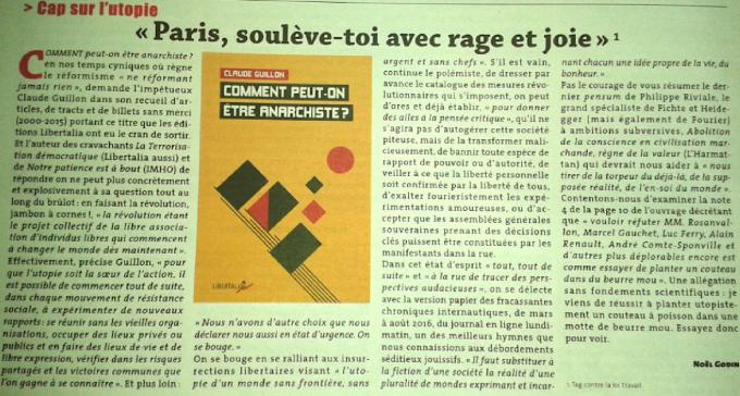 """""""Comment peut-on être anarchiste?"""" ~ Recension par Noël Godin dans """"CQFD"""" dans - DATE A RETENIR"""